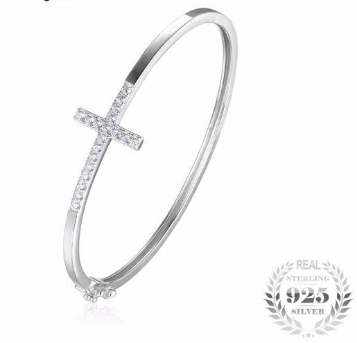 Cubic Zirconia and Silver Cross Bangle Bracelet