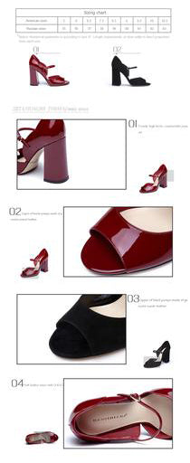 Genuine Leather High heels Sandals. 2 Colors