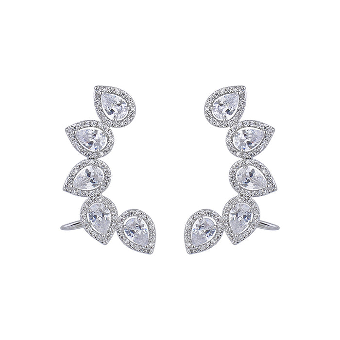 Crystal Water Drop Silver Stud Earrings