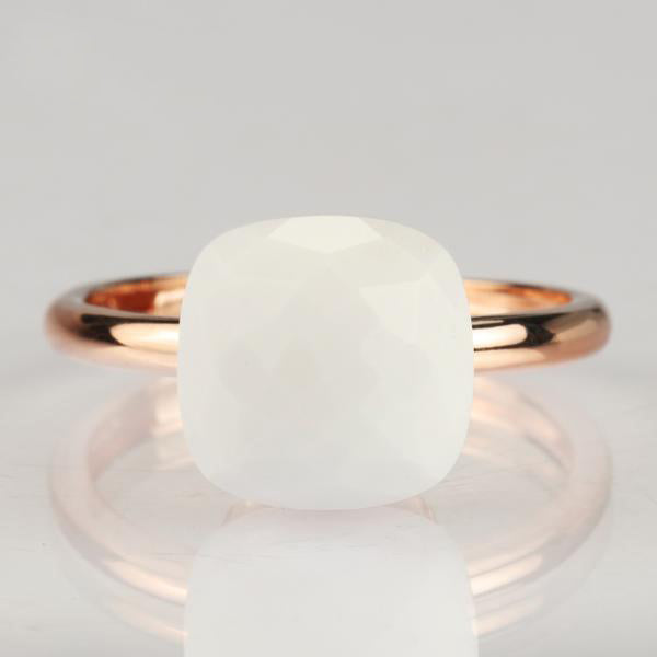 Natural white Agate 925 Silver Ring