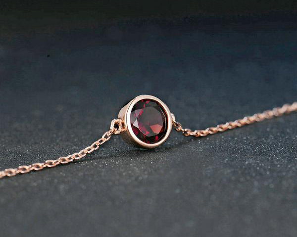 Natural Red Garnet Sterling Silver Bracelet