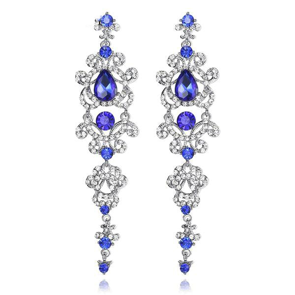 Elegant Long Rhinestone Chandelier Earrings, Blue or White