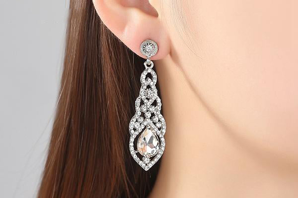 Long Crystal and Rhinestone Party Earrings, 3 colors