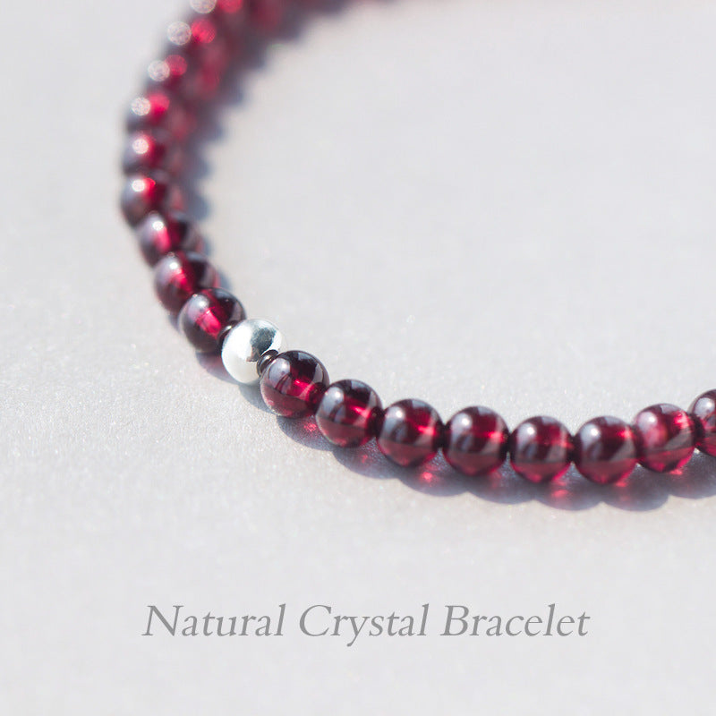 Sterling Silver and Natural Red Garnet Stone Bracelet