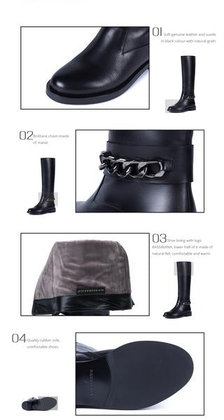 Top Quality Leather High Boots with Chain. Suede or Soft Leather
