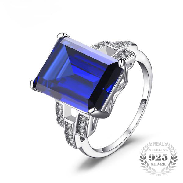 Emerald Cut Created Blue Sapphire Silver Ring