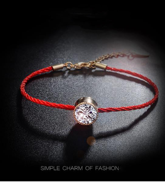 Austrian Crystals Bracelet - Thin Red Thread String Rope
