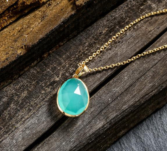 Aqua Calci Pendant Necklace with 925 Sterling Silver Chain