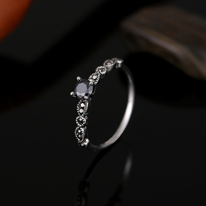 Black Zircon Stone Vintage Ring with Antique Silver Color