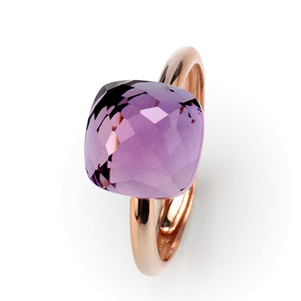Natural amethyst silver ring