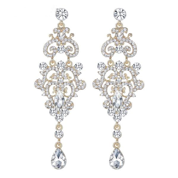 Long Rhinestone Chandelier  Earrings. 2 Colors