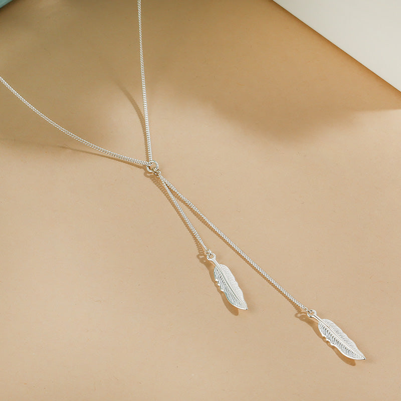 Silver Chain Feather Necklace