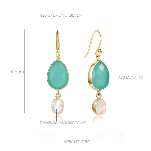 Sterling Silver Aqua Calci Drop Earrings with Rainbow Moonstone