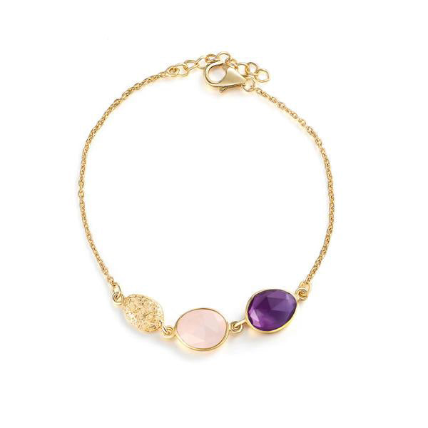 Gold Plated Silver Chain Bracelet with Rose Quartz and Amethyst