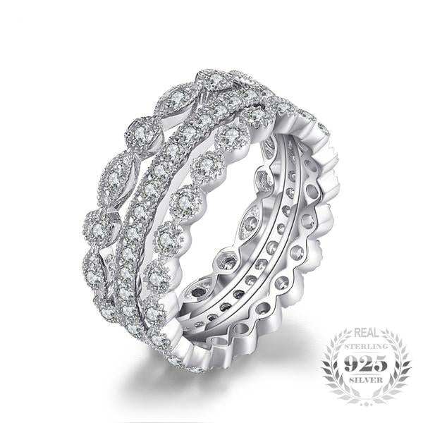 3 Eternity Band Sterling Silver Ring with Cubic Zirconia