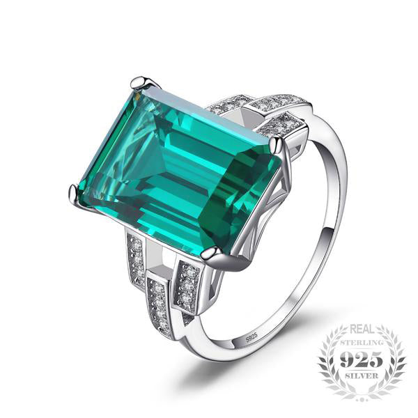 Created Emerald Silver Ring