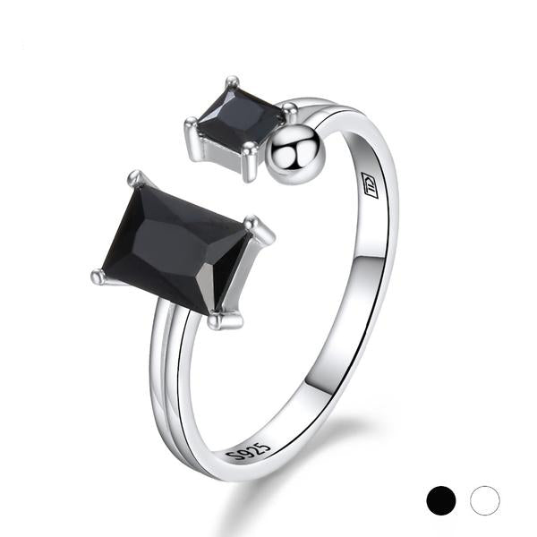 Genuine Silver Ring, Black or White