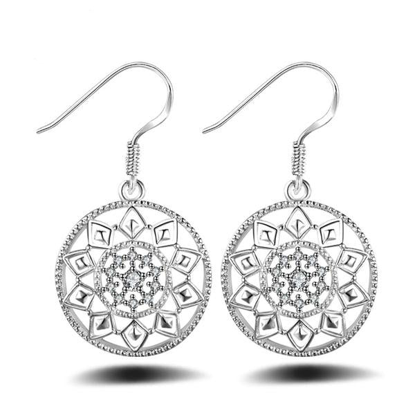 Round Geometric Pattern Statement Earrings