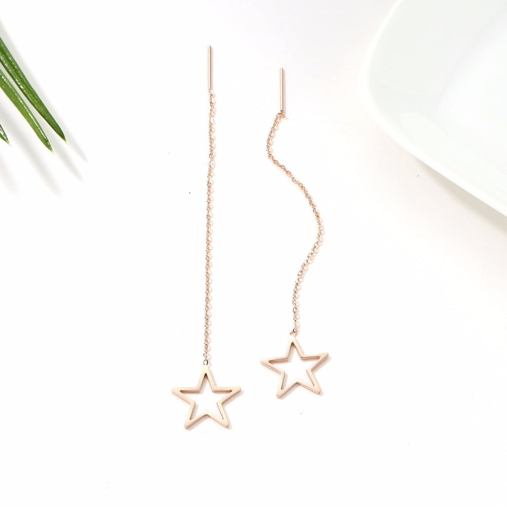 Long  Rose Gold Star  Earrings  in Titanium Steel
