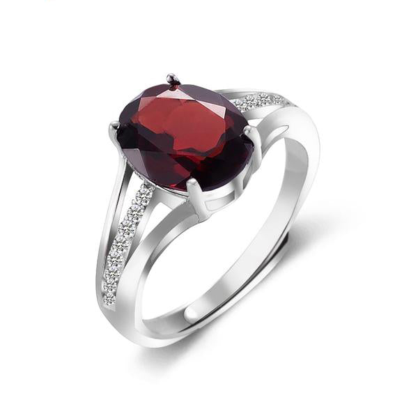 Sterling Silver Ring with  Natural Oval Cut Garnet