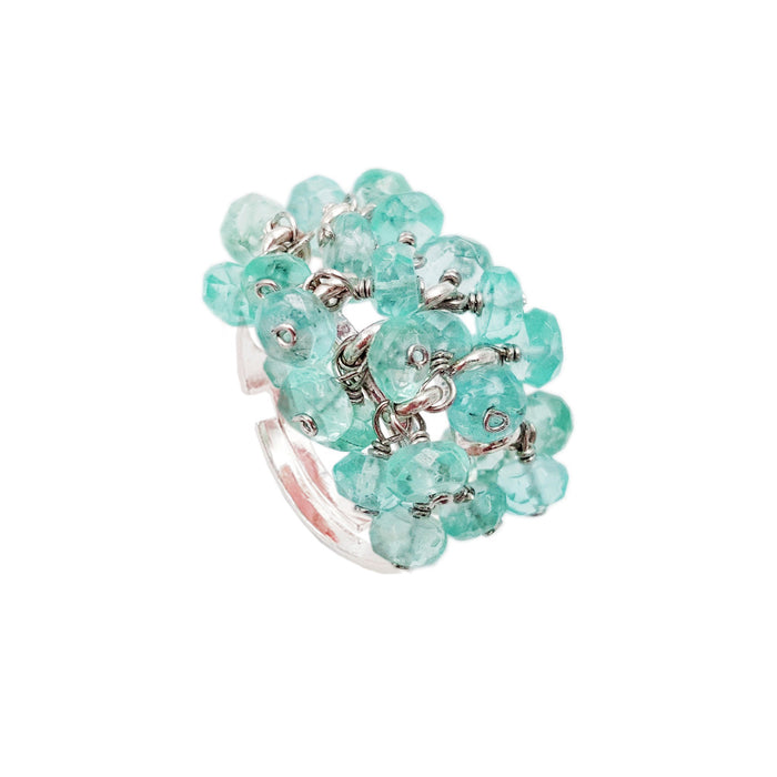 Natural Apatite Silver Handwork Ring