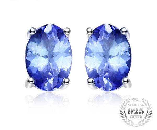Silver Natural Tanzanite Stud Earrings
