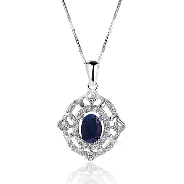 Natural Sapphire Sterling Silver Necklace