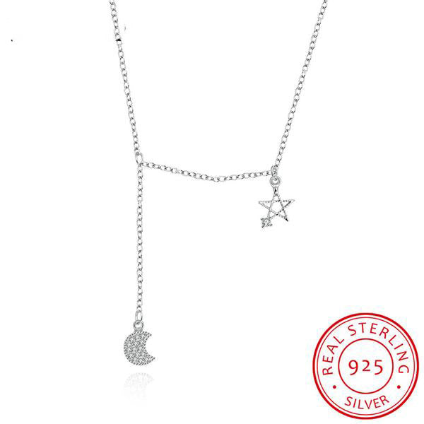 Sterling Silver Moon & Star Pendant Necklace