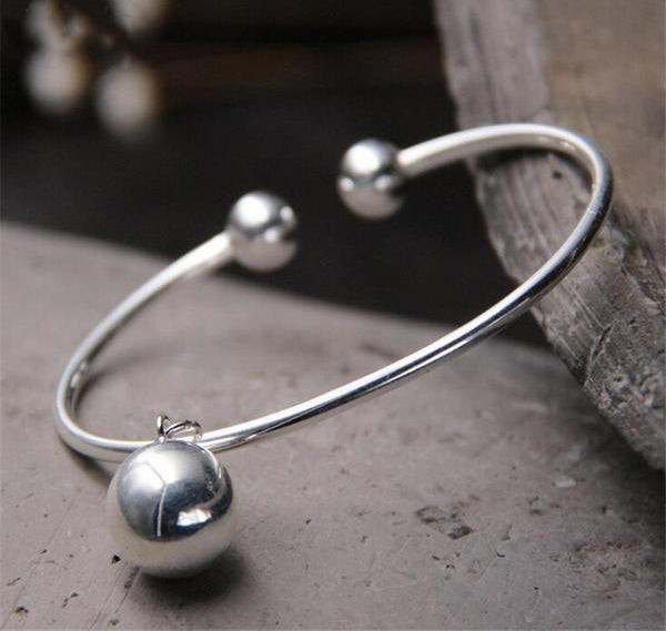 Sterling Silver Bangle Bracelet with Double Balls