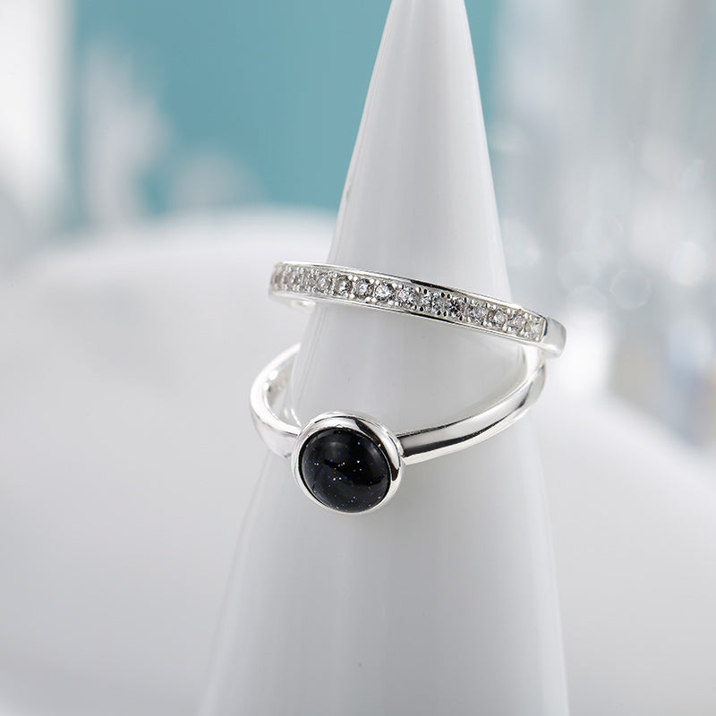 Sterling Silver Ring Set with Black Gemstone