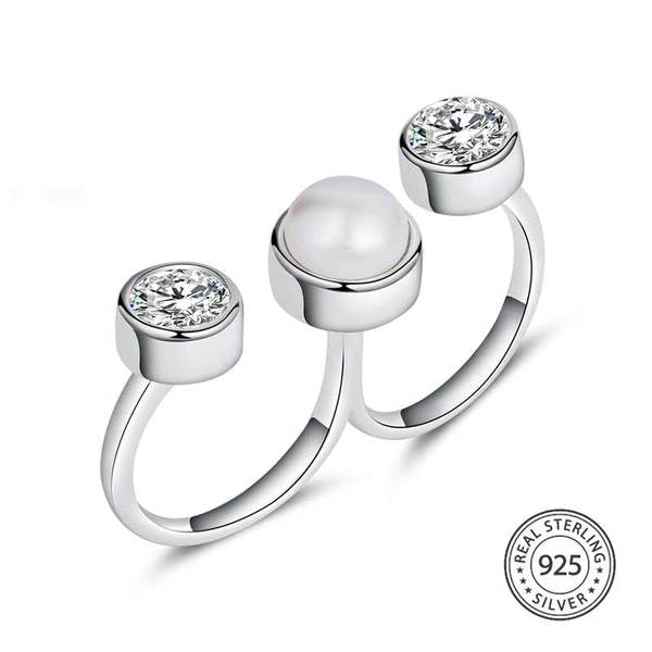 Sterling Silver Double Finger Ring with Pearl