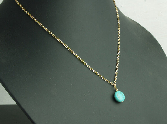 Gold Chain Pendant Necklace with  Round Howlite Stone