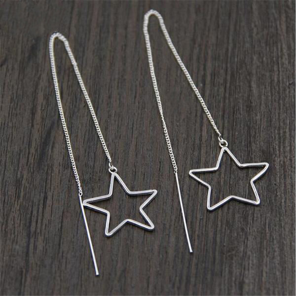 Sterling Silver Chain Star Earrings