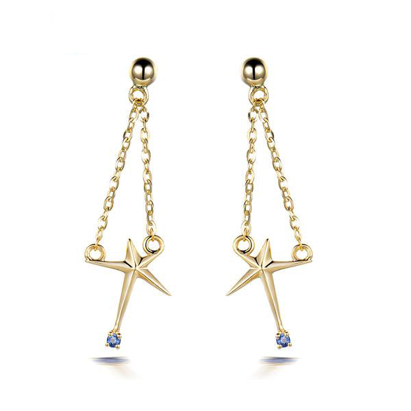 14K-gold Star Drop Earrings with Natural Sapphire