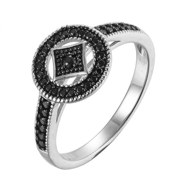 Ancient Coins Design Black Spinel Silver Ring