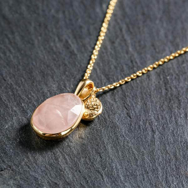 Gold Plated  Silver Chain Necklace with Rose Quartz Pendant
