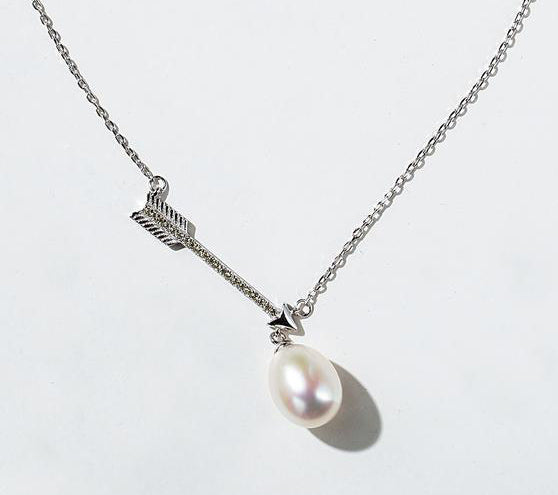 925 Silver Genuine Freshwater Pearl Pendant Necklace With Arrow