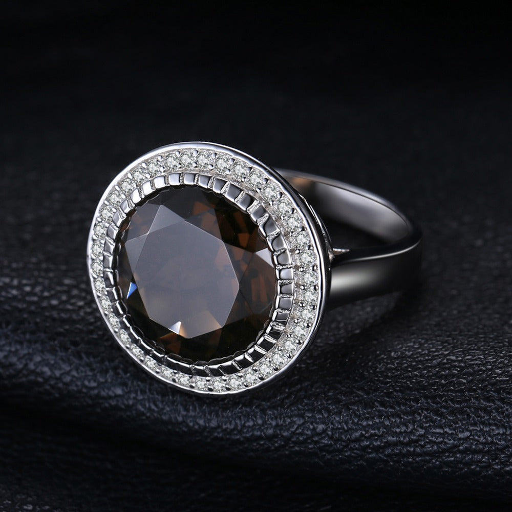 Sterling Silver Vintage Ring with Round Natural Smoky Quartz