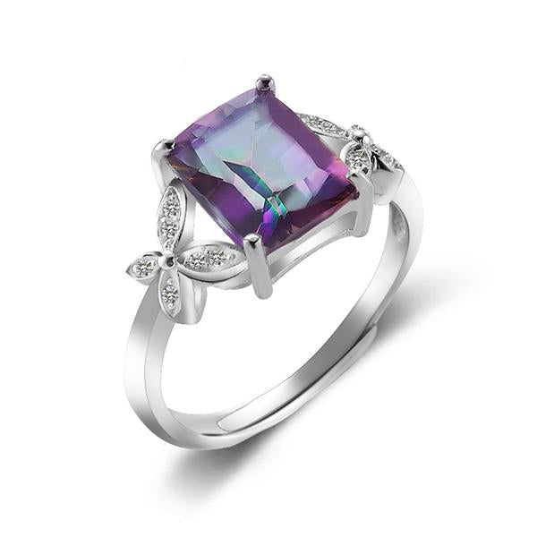 Sterllng Silver Ring with Rectangle Fire Rainbow Quartz