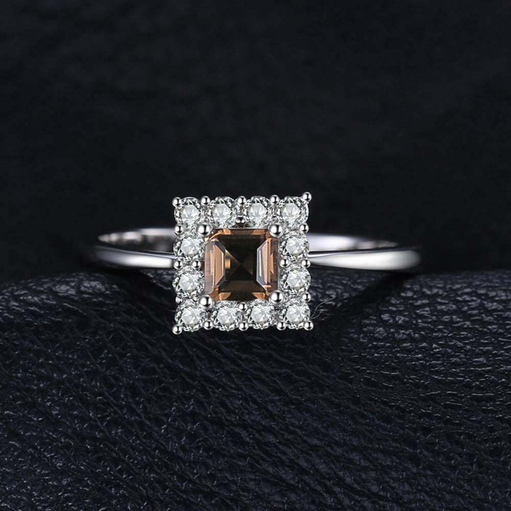 Sterling Silver Classic Ring with  Square-Cut Natural Smoky Quartz