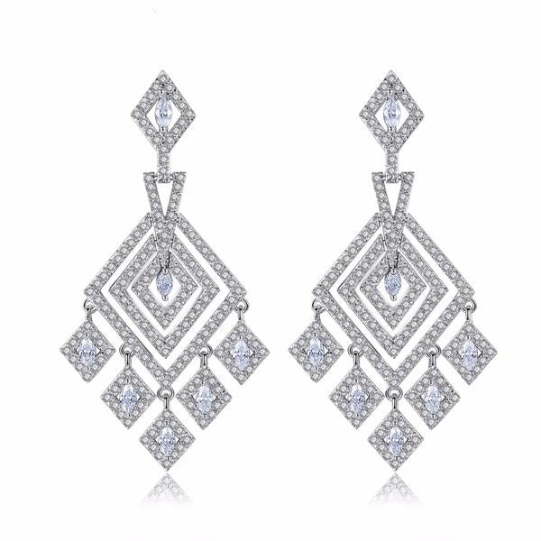 Elegant Geometric Cubic Zirconia  Evening Earrings
