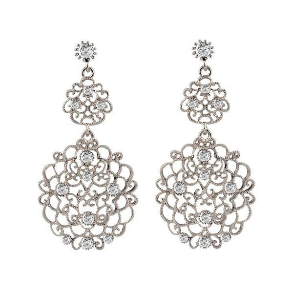 Bohemia Vintage Gray Cubic Zircon Earrings, 2 colors
