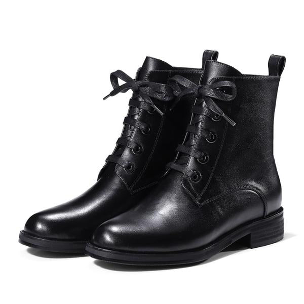 Handmade Comfortable Lace-up  Round Toe Boots