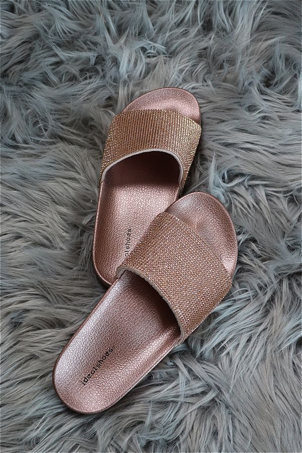 Mules rose gold pailleté