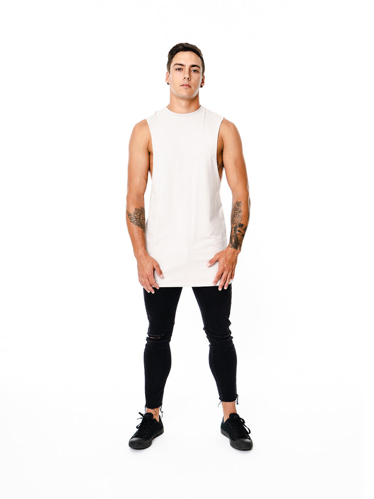 Mens - Manasse Basix Plain Cut Off Tee (Grey)