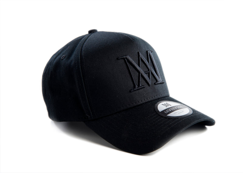 Manasse Cotton Embroidered A-Frame Snap Back (Black on Black)