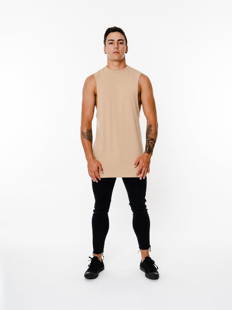 Mens - Manasse Basix Plain Cut Off Tee (Beige)