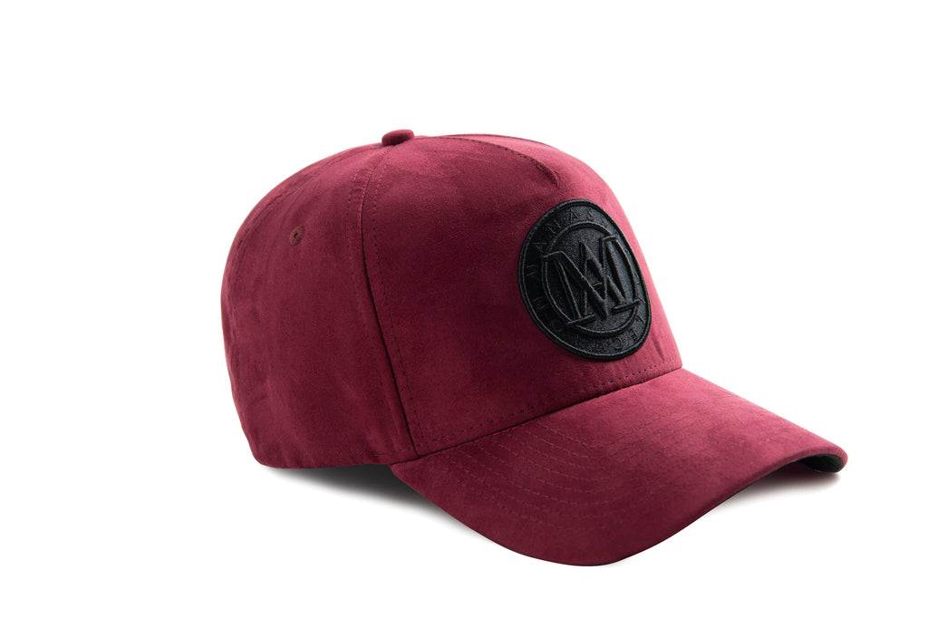 Manasse Suede Embroidered A-Frame Snap Back (Burgundy)
