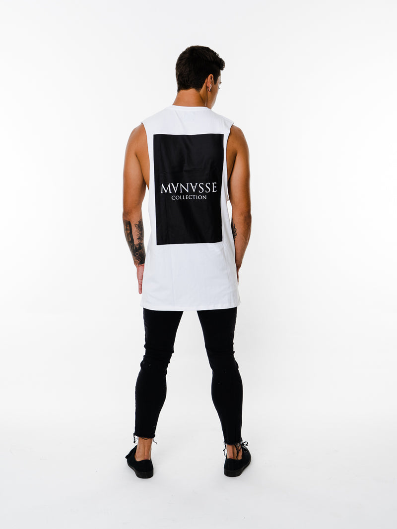 Mens - Manasse Basix Collection Cut Off Tee (White)