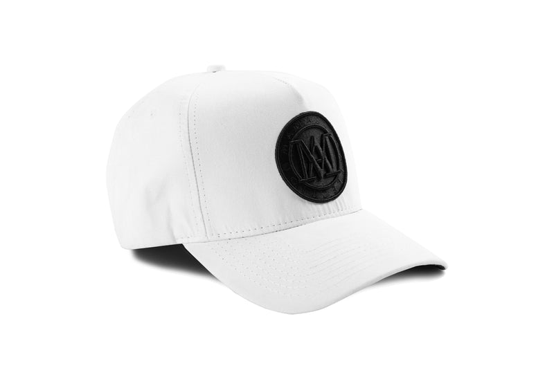 Manasse Suede Embroidered A-Frame Snap Back (White)